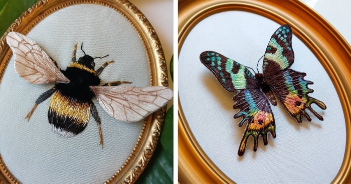 This Artist Uses 3D Embroidery Technique to Make Wings Look Like They Could Fly Right Off the Fabric - 1